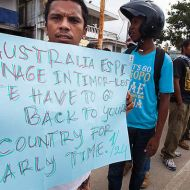 A protest at the Australian embassy in Dili